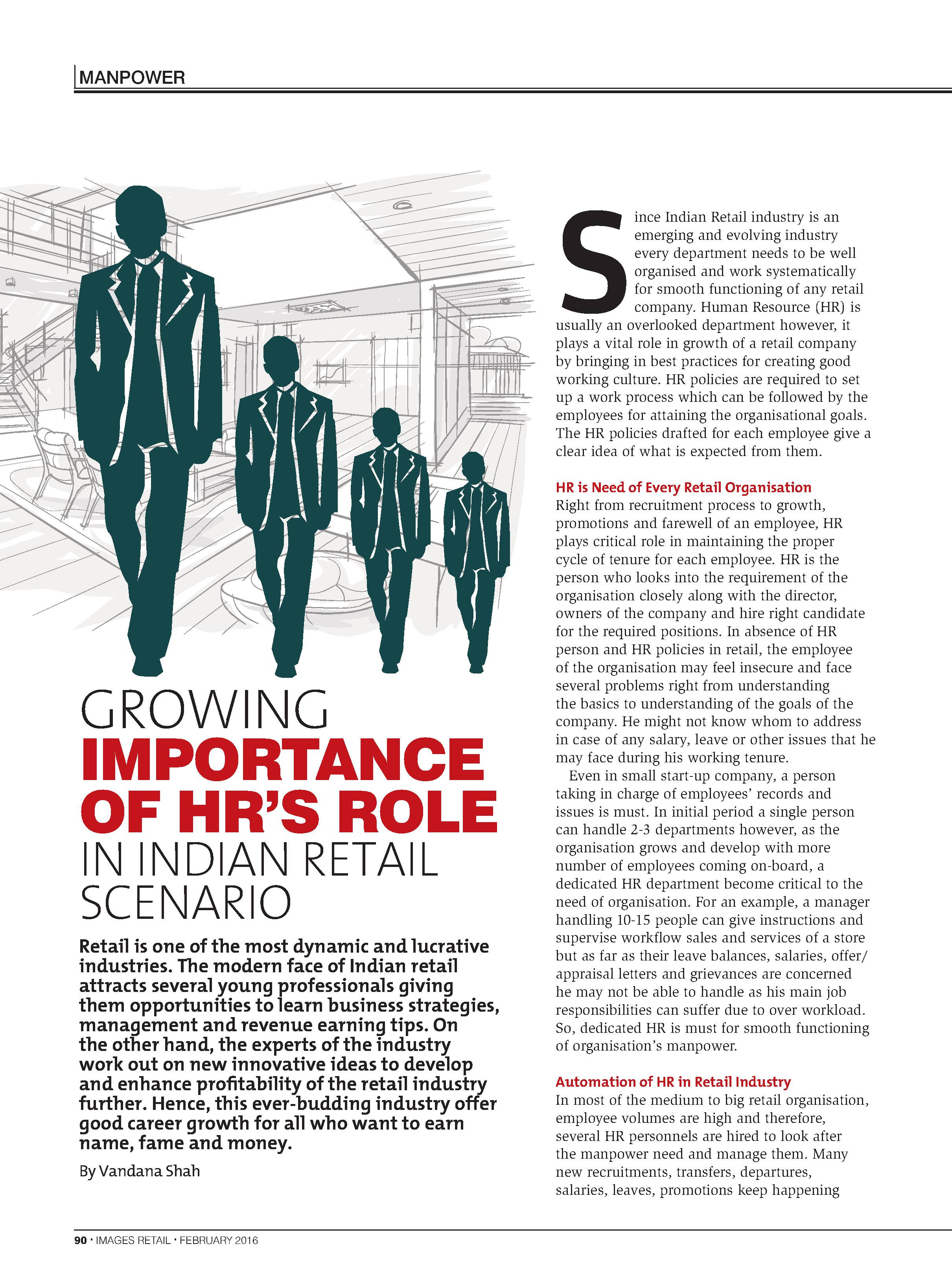 Importance of HR's Role in Indian Retail Scenario