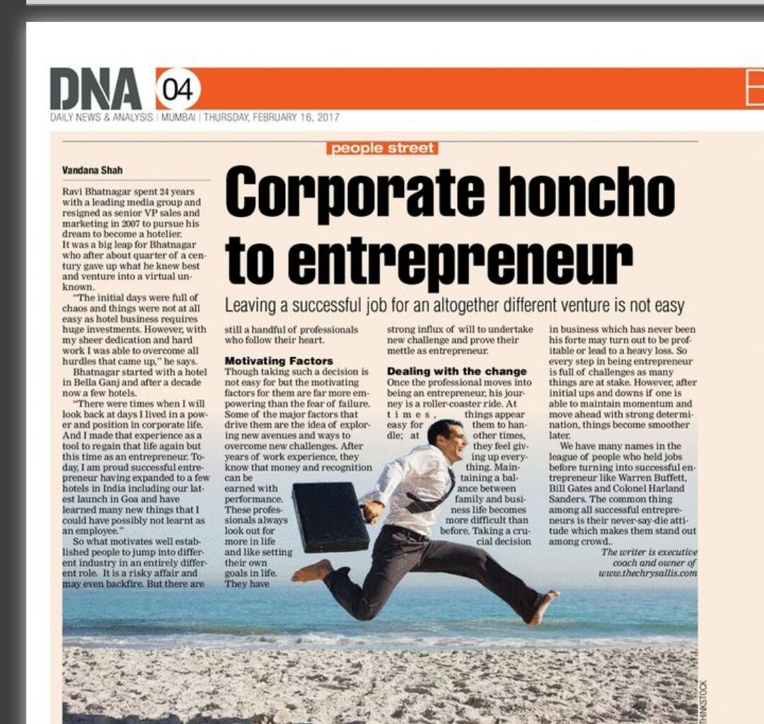 Corporate honcho to entrepreneur